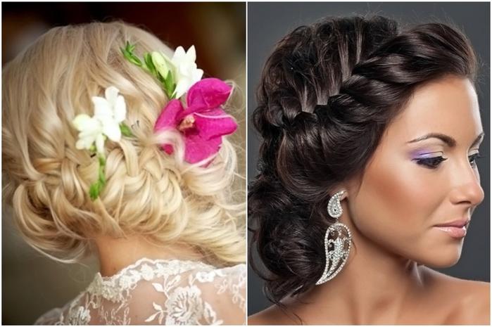 Причёска на свадьбу для гостей с плетением