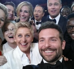 An image posted by Oscars show host Ellen DeGeneres (bottom row, 4th L) on her Twitter account shows movie stars, including Jared Leto, Jennifer Lawrence, Meryl Streep (bottom row L-3rd L), Channing Tatum, Julia Roberts, Kevin Spacey, Brad Pitt, Lupita Nyong'o, Angelina Jolie (top row L-R) and Bradley Cooper (bottom row, 2nd R), as well as Nyong'o's brother Peter (bottom row, R), posing for a picture taken by Cooper at the 86th Academy Awards in Hollywood, California March 2, 2014. The self-portrait tweeted by host DeGeneres and actors taken during Hollywood's annual Academy Awards ceremony on Sunday quickly became the most shared photo ever on Twitter. Picture taken March 2, 2014.   REUTERS/Ellen DeGeneres/Handout via Reuters  (UNITED STATES - Tags: ENTERTAINMENT MEDIA TPX IMAGES OF THE DAY PROFILE) ATTENTION EDITORS – THIS IMAGE WAS PROVIDED BY A THIRD PARTY. NO SALES. NO ARCHIVES. FOR EDITORIAL USE ONLY. NOT FOR SALE FOR MARKETING OR ADVERTISING CAMPAIGNS. THIS PICTURE IS DISTRIBUTED EXACTLY AS RECEIVED BY REUTERS, AS A SERVICE TO CLIENTS